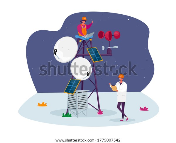 Characters in Worker and White Robe and Hardhat Learning Meteorological Indicators at Meteo Station. Meteorology Science, Modern Technologies for Weather Forecast. Cartoon People Vector Illustration
