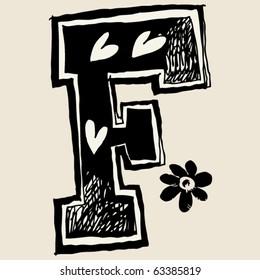 charcoal alphabet, doodle F
