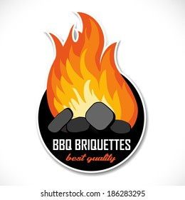 Charcoal briquettes icon template. Ready for your barbeque or grill design.