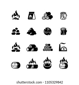 Charcoal, burning coal for barbecue vector isolated icons. Burn and flame, fuel wood in package illustration