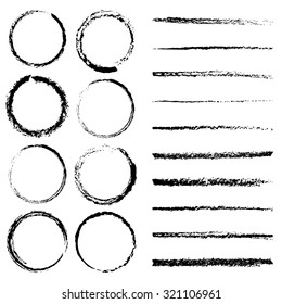 Charcoal circles and lines brushes set. Vector brushes