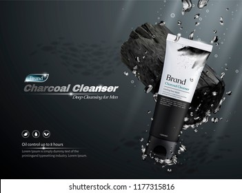 Charcoal cleanser commercial ads, product and ingredients dropping into water in 3d illustration