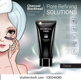 Charcoal Mask ads. Vector Illustration with Manga style girl and Charcoal Blackhead Remover Mask tube.