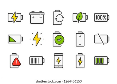 Charge and battery color line icons. Accumulator and energy vector linear colorful icon set. Isolated icon collection on white background.