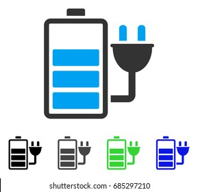 Charge Battery flat vector pictograph. Colored charge battery gray, black, blue, green pictogram versions. Flat icon style for graphic design.