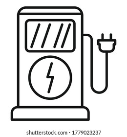 Charge eletric station icon. Outline charge eletric station vector icon for web design isolated on white background