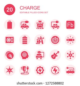 charge icon set. Collection of 20 filled charge icons included Empty battery, Electric car, Power, Energy, Flash, Full battery, Cymbals, Electric, Positive ion, Negative ion, Charger