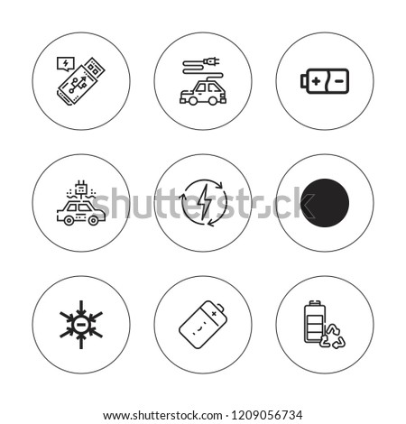 Charge Icon Set Collection 9 Outline Stock Vector Royalty Free