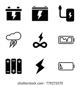 Charge icons. set of 9 editable filled and outline charge icons such as battery, endless battery, flash