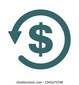 Chargeback icon symbol, return money isolated on white background .