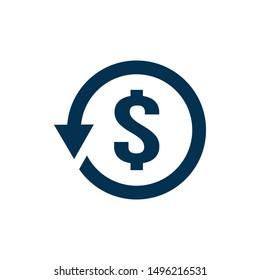 Chargeback icon symbol, return money. vector illustration