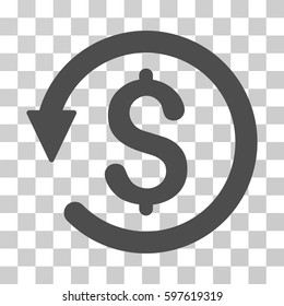 Chargeback icon. Vector illustration style is flat iconic symbol, gray color, transparent background. Designed for web and software interfaces.