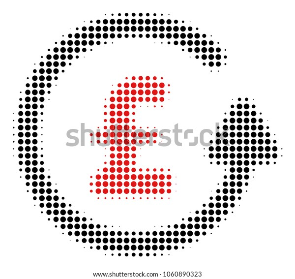 Chargeback Pound halftone vector icon. Illustration style is dotted iconic Chargeback Pound icon symbol on a white background. Halftone pattern is round items.