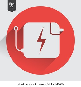 Charger Flat Icon. Simple Sign Of Battery Charging, Laptop Charger Symbol. Vector Illustration