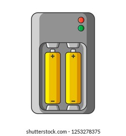 Charger icon for AA and AAA type batteries. Vector illustration on white background. Isolated drawing