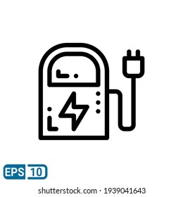 charger icon in line style isolated on white background. EPS 10