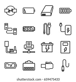 Charger icons set. set of 16 charger outline icons such as battery, baterry, wire, low battery, broken battery, phone cable, phone connection cable