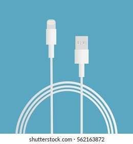 Charger for smartphone iPhone or tablet iPad on blue background. Long white wire cable. Vector illustration