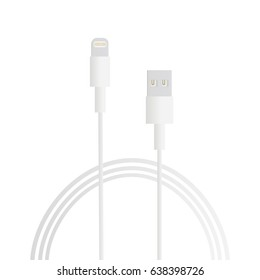 Charger for smartphone iPhone or tablet iPad computer isolated on white background. Long white wire cable. Vector illustration
