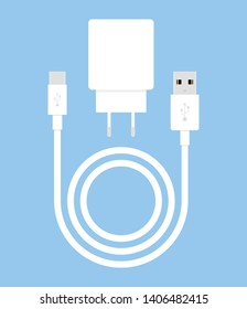 Charger for smartphone on blue background. Long white wire cable. Vector illustration