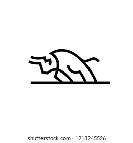 charging bull el toro logo vector icon line outline monoline illustration