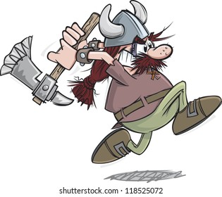 Charging cartoon viking warrior with axe
