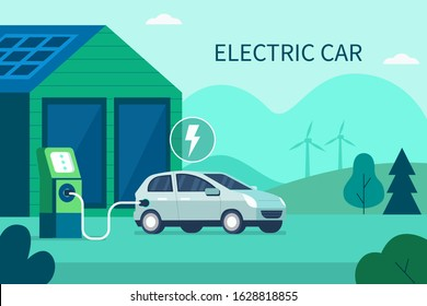 Charging Electric Car Battery at Electric Recharge Station. Modern Hybrid Auto. New Alternative Energy Vehicle. Futuristic Transport, Green Energy, Eco City Concept. Flat Cartoon Vector Illustration.