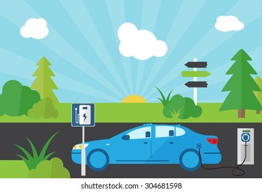 Charging an electric car at the power station side view, flat vector illustration