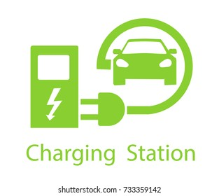 Charging for electric vehicles. Logo Road sign template of electric vehicle. Vector illustration of a minimalistic flat design.