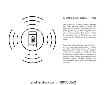 Charging mobile phones. Wireless charging phones outline. Wireless battery charge. Charging smart phones