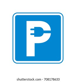 Charging parking sign electric car. Plug in letter P vector illustration. Original idea of classic road sign for clean environment cars. Blue standart square rounded corners for web and print design.