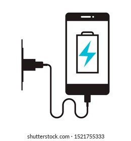 Charging phone icon in flat style isolated. Vector Symbol illustration.