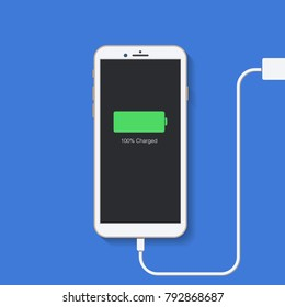 Charging phone. Plugged Phone. Flat design. Vector illustratoin.
