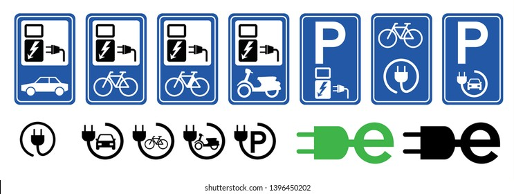Charging point cable battery station for electric ebike e bike bicycle scooter car cars Vector signs sign icon icons symbol logo funny fun silhouette cyclist riding City e-Bikes E08 No Ban stop P