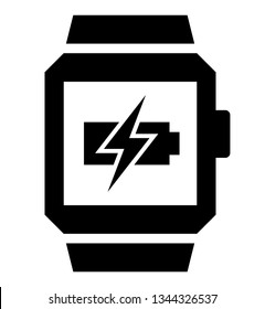 Charging smartwatch icon. Vector icon of smart watch with lightning over flat battery on screen