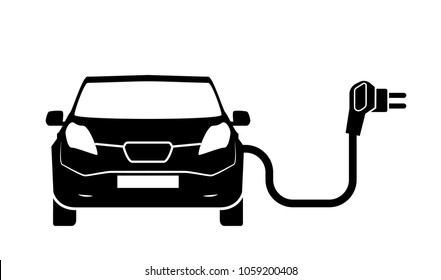 Charging station electric car black icons set.. Electric car charging icon isolated. Electric Vehicle electric car charging point icon vector. Renewable eco technologies. Vector illustration