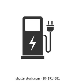 Charging station for electric car icon Vector Illustration.