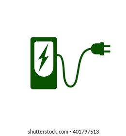 Charging station for electric car icon Vector Illustration. Charging station with electricity sign, cable and plug