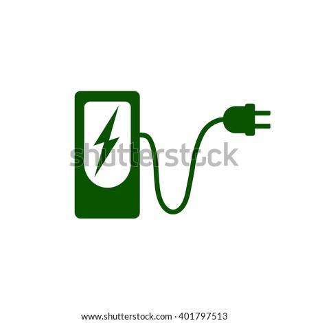 Charging Station Electric Car Icon Vector Stock Vektorgrafik