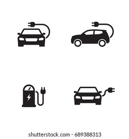 Charging station electric car icons set. Black on a white background