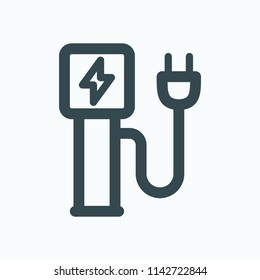 Charging station for electric car with charging plug vector icon