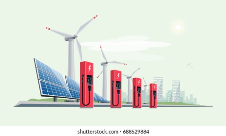 Charging Station for Electric Car with Solar Panels and Wind Turbines. City skyline with clouds and sun in the background. Green clean eco city concept flat vector illustration.