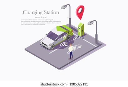 Charging station vector web banner template. Isometric electric recharging point, car and man with mobile phone. Electric vehicle charging technology, mobile app to find ev charging station concept.