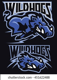 Charging wild hog mascot set