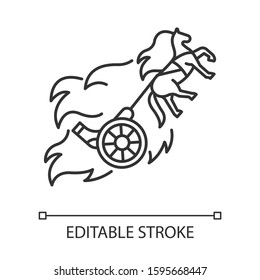 Chariot of fire Bible story linear icon. Christian religion, holy book scene plot. Biblical narrative. Thin line illustration. Contour symbol. Vector isolated outline drawing. Editable stroke
