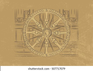 Chariot wheel at the Konark Sun Temple, Orissa, India. Vector Illustration of Indian architecture and sculpture.