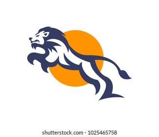 Charismatic Jumping Lion Leadership Logo
