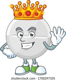 The Charismatic King of white pills cartoon character design wearing gold crown