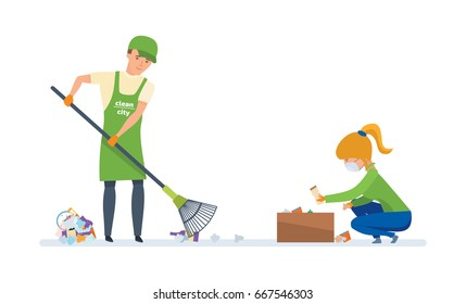 Charitable affairs. Young volunteers are engaged in cleaning the territory of garbage, for further wasteless processing. Vector illustration on white background, people in cartoon style.