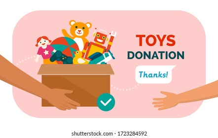Charitable toys donation for kids: volunteer giving a donation box with lots of beautiful toys, solidarity and charity concept